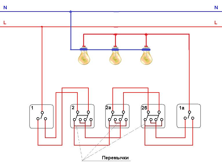 Проходные выключатели и схема их подключения