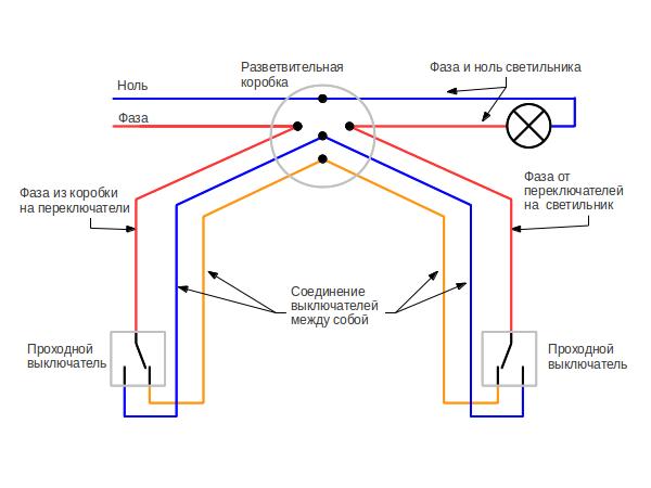 Один из способов выполнения монтажа с применением двух проходных выключателей